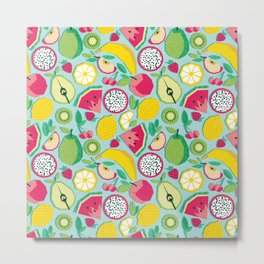 Paper cut geo fruits // aqua background multicoloured geometric fruits Metal Print