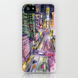 Locomotion, hand painted watercolor print of New York's Time Square at Nights iPhone Case