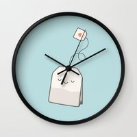 Wall Clocks featuring Tea time by kim vervuurt