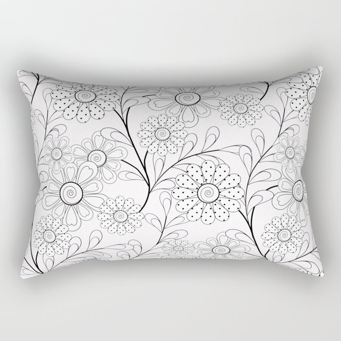 .Floral pattern on a white background. Rectangular Pillow