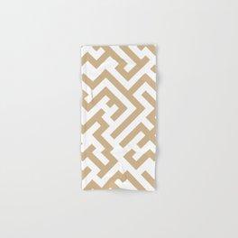 White and Tan Brown Diagonal Labyrinth Hand & Bath Towel