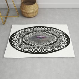 """""""Beez Lee Art : Foggy Circle Point of View"""" Rug"""