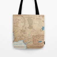 middle earth Tote Bags featuring Map of Middle Earth by Kaz Palladino
