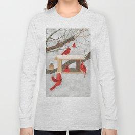 Cardinals at bird feeder Long Sleeve T-shirt