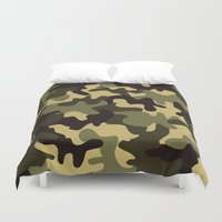 camouflage Duvet Covers featuring Camouflage  by Katie Zimpel