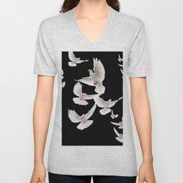 WHITE PEACE DOVES ON BLACK COLOR DESIGN ART Unisex V-Neck