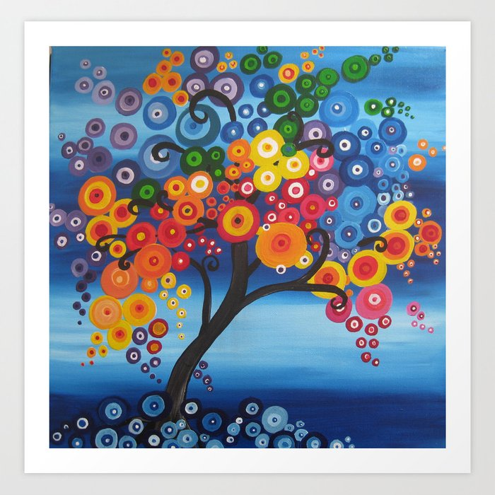 Rainbow Tree Painting Tree Of Life Bright Red Blue Yellow