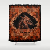 kitsune Shower Curtains featuring Kitsune by Carlo Spaziani