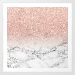 Modern faux rose gold pink glitter ombre white marble Art Print