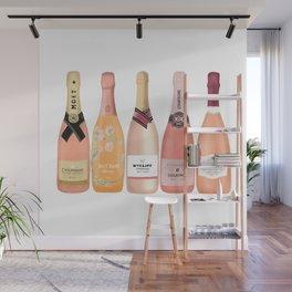 Rose Champagne Bottles Wall Mural