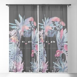 Popoki (Pastel Black Velvet) Sheer Curtain