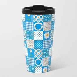 Daisy Chain Hearts and Circles on Turquoise Blue Travel Mug
