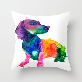 Abstract Dachshund Throw Pillow
