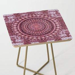Boho Rosewood Mandala Side Table