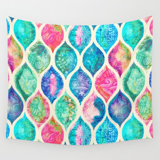 Watercolor Ogee Patchwork Pattern Wall Tapestry