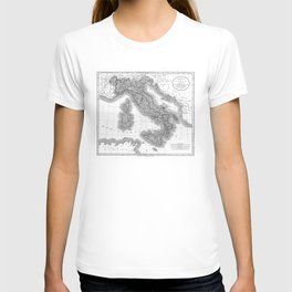 Vintage Map of Italy (1799) BW T-shirt