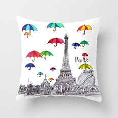 Travel with Umbrella Throw Pillow
