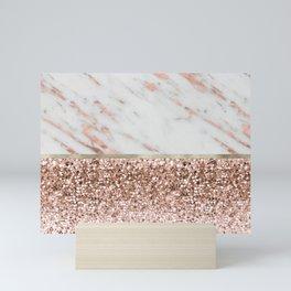 Warm chromatic - rose gold marble Mini Art Print