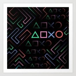 Playstation Buttons Maze Lines Art Print