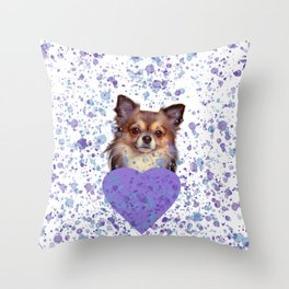Watercolor Ultra Violet Splattering Dog Lovers Throw Pillow