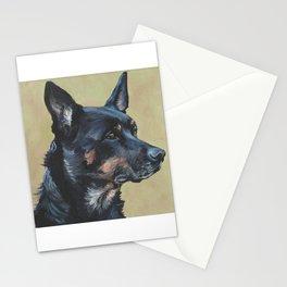 Australian Kelpie portrait dog art from an original painting by L.A.Shepard Stationery Cards