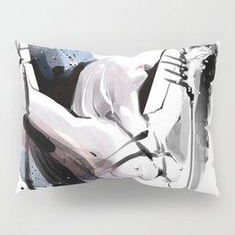 The beauty of tight binding, Naked body tied up to a pole, Nude art, Fine-art shibari rope bondage Pillow Sham