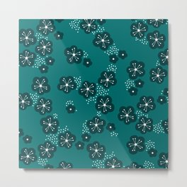Hello spring Japanese cherry blossom love teal Metal Print
