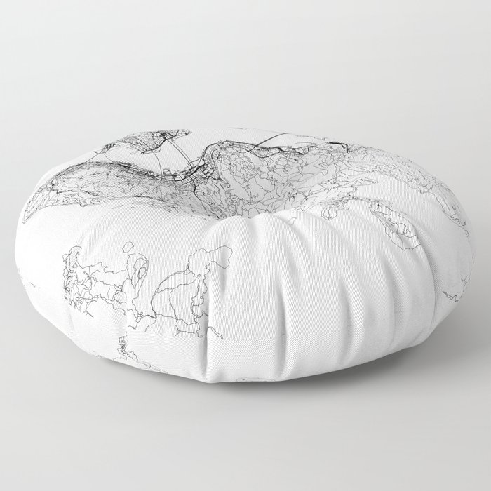 Hong Kong White Map Floor Pillow
