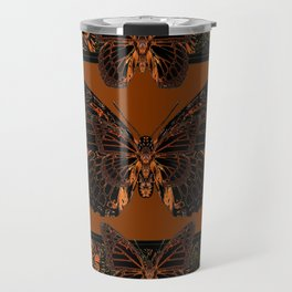 BLACK  MONARCH BUTTERFLIES,COFFEE BROWN-BURGUNDY ART Travel Mug
