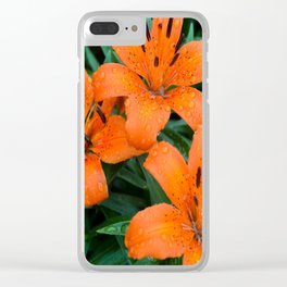 Wet Orange Tiger Lily Clear iPhone Case