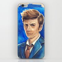 david tennant iPhone & iPod Skins featuring David Tennant 10th Doctor Who by Tiffany Willis