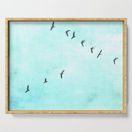 GEESE FLYING - TURQUOISE Serving Tray
