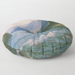Under the Cliffs of Molokai, Hawaiian landscape painting by D. Howard Hitchcock Floor Pillow