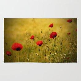 Poppy-field Poppies Flowers Flower Rug