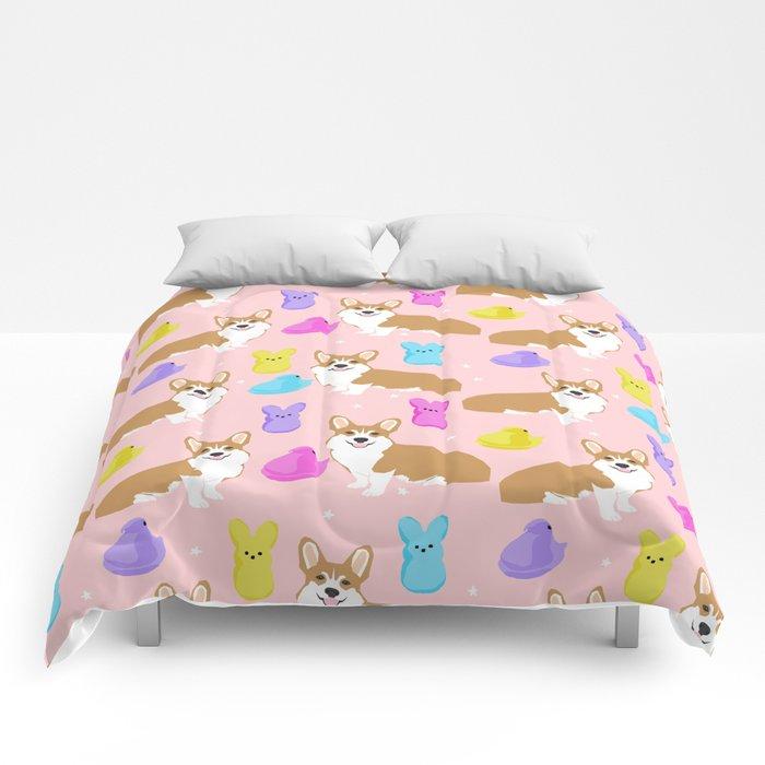 Corgi peeps easter marshmallow spring traditions dog breed welsh corgi Comforters