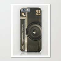vintage camera Canvas Prints featuring CAMERA by Monika Strigel