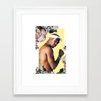 tupac Framed Art Prints featuring Tupac Floral by POSH OUTSIDERS