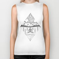 camping Biker Tanks featuring Mountain Camping by whatkatydoes