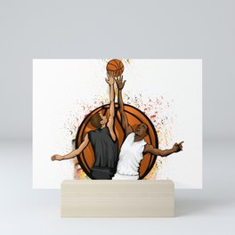 Basketball jump ball featuring two players in a basketball Mini Art Print