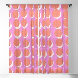 Moon Dots (Xray Pink) Sheer Curtain