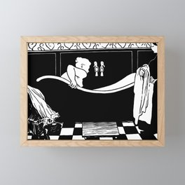 The Bath - Le Bain by Félix Vallotton - Retro Vintage Woodblock Painting Framed Mini Art Print
