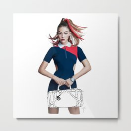 Gigi Fashion illustration Metal Print