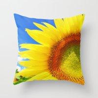 sunflower Throw Pillows featuring SUNFLOWER by Ylenia Pizzetti