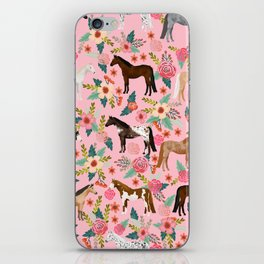 Horses floral horse breeds farm animal pets iPhone Skin