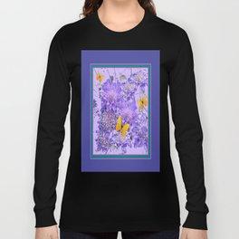 Lavender-Lilac-Teal Butterflies  Pin Cushion Floral  Art Long Sleeve T-shirt