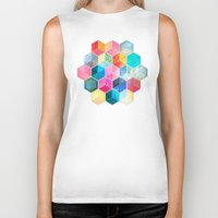 honeycomb Biker Tanks featuring Crystal Bohemian Honeycomb Cubes - colorful hexagon pattern  by micklyn
