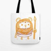 ewok Tote Bags featuring Cheeseburger Ewok by Philip Tseng