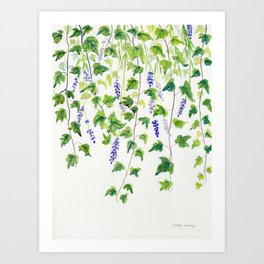Ivy and Lavender Watercolor Art Print