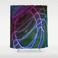 neon Shower Curtains featuring Neon by RingWaveArt