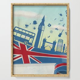 UK LONDON  element on flag with sky background Serving Tray